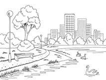 停放湖图表黑白色风景剪影例证传染媒介 免版税库存照片
