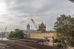 停放火车站,金奈,印度2017年8月12日:金奈公园驻地的一个著名地标零件 免版税库存图片