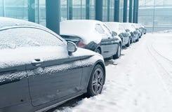 停放的汽车在街道上的冬天 免版税库存照片