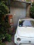 停放的葡萄酒白色意大利汽车 免版税库存照片