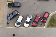停放的顶视图 米斯克,白俄罗斯, 2016年10月21日 免版税库存照片