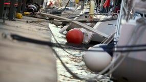 停放的风船的船尾 库存照片