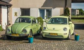停放的VW甲虫老和新的模型 库存图片