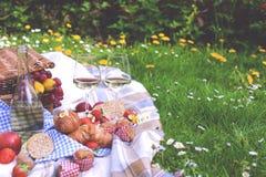 停放野餐 有花、格子花呢披肩和一个瓶的一个绿色草甸酒 浪漫晚餐本质上 在的春天 图库摄影