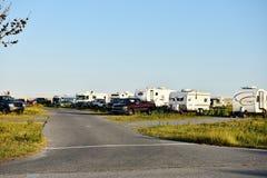 停放马里兰美国的Assateague营地 库存图片