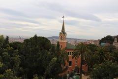 停放Gaudi,巴塞罗那,西班牙Guell和房子  库存照片