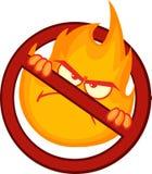 停止与恼怒的灼烧的火焰的火标志 免版税库存图片