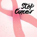 停止乳腺癌了悟卡片的巨蟹星座手拉的字法 免版税库存照片