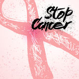停止乳腺癌了悟卡片的巨蟹星座手拉的字法 库存图片