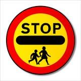 停止儿童交通标志 免版税库存图片