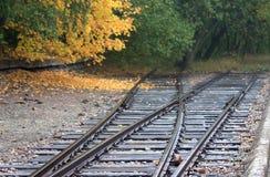 停止在布痕瓦尔德站点的路轨,德国 库存图片