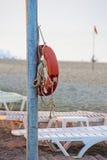 停止在杆的Lifebuoy 免版税库存照片