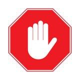 停止在白色背景的手标志 免版税库存图片