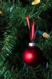 停止在结构树的表面无光泽的红色圣诞节装饰品 库存照片