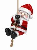 停止在绳索的圣诞老人 免版税库存图片