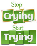停止尝试绿色正方形条纹的哭泣的开始 免版税库存图片