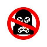 停止强盗 没有歹徒 它是禁止的夜贼 红色禁止 库存例证