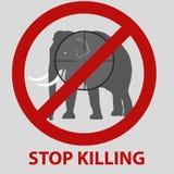 停止杀害与大象的动物标志 库存例证