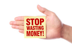 停止浪费金钱 库存照片