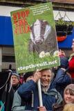 停止獾拣掉抗议游行 免版税库存照片