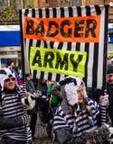 停止獾拣掉抗议游行 免版税库存图片