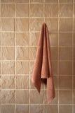 停止的卫生间铺磁砖了毛巾墙壁 免版税图库摄影