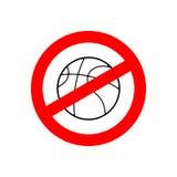 停止篮球 被禁止的成队比赛 红色禁止标志 阴级射线示波器 图库摄影