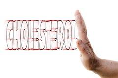 停止胆固醇的妇女的手 免版税库存图片