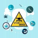停止药物例证传染媒介 免版税库存图片