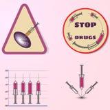 停止药物, infosraphic的传染媒介 库存照片