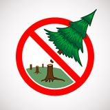 停止裁减活树标志 库存图片