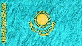 停止运动柔和的淡色彩白垩蜡笔拉长的哈萨克斯坦旗子动画片动画无缝的圈背景新的质量国民 股票录像