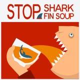 停止鲨鱼飞翅汤 传染媒介与人顶头吃的标志海报 免版税库存照片