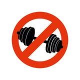 停止建身 禁令体育 禁止健身的标志 库存图片