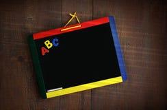 停止s木头的黑板子项 库存图片