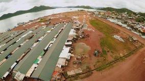停泊与小船在Coron镇  巴拉望岛 菲律宾 股票录像