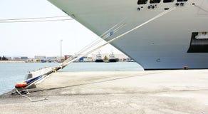 停泊在La Goulette口岸的一艘船细节  图库摄影