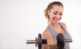停滞重量的健身妇女 库存照片