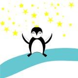 停留在冰的一黑pinguin 免版税图库摄影