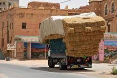 停留在路的被超载的卡车 免版税库存照片