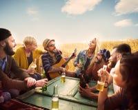 停留幸福概念的不同的人朋友 免版税图库摄影