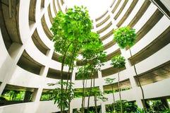 停车场大厦的绿色庭院 免版税库存照片