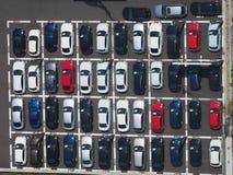 停车场顶视图照片  免版税库存图片