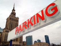 停车处华沙中心 免版税库存图片