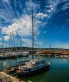 停车处帆船在小游艇船坞帕尔马,马略卡 库存图片