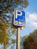 停车处机器标志 库存图片