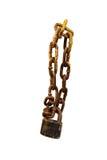 黑停轮链紧固被隔绝的金属工业箱子 图库摄影