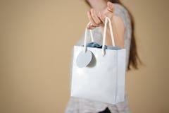 停滞手中空白的蓝纸礼物袋子嘲笑的女孩 空的pa 免版税库存图片