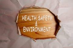 健康、安全和环境概念发短信在简单的被撕毁的纸 图库摄影