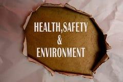健康、安全和环境概念发短信在简单的被撕毁的纸 库存照片